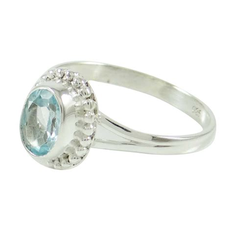 Handcrafted Sterling Silver Jewelry - blue topaz 925 sterling silver ring band handcrafted