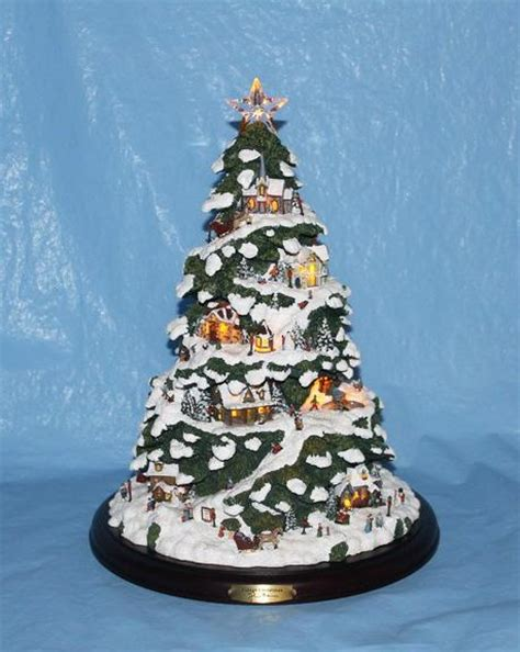 bradford thomas kinkade village christmas tree illuminated