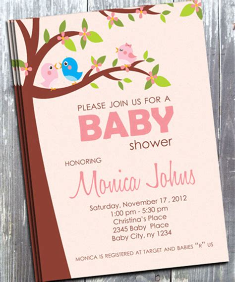 Baby Shower Bird Theme Invitations by Pink Bird Baby Shower Invitation