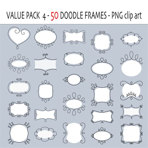 doodle digital digital doodle frames labels digital clip frames