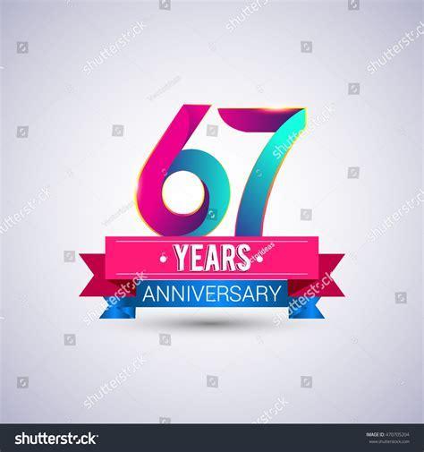 67 Years Anniversary Logo Blue Red Stock Vector 470705204