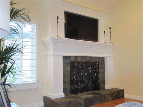 Slate Tiles For Fireplace Hearth by Custom Wood Fireplace With Slate Tile Hearth And Inset