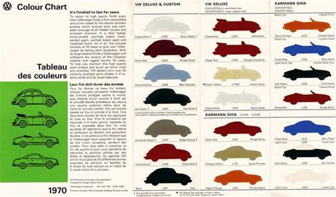 1970 color chart karmann ghia