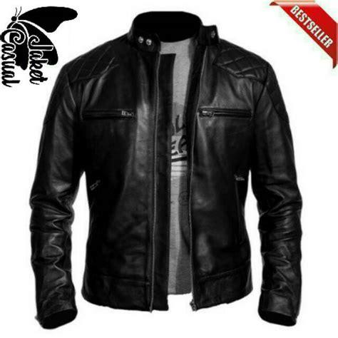 Jaket Kulit Pria Shopee jaket kulit pria motor jaket kulit casual pria hitam dan