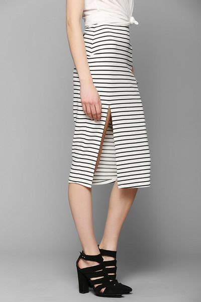 outfitters bdg stripe fitted midi skirt in white