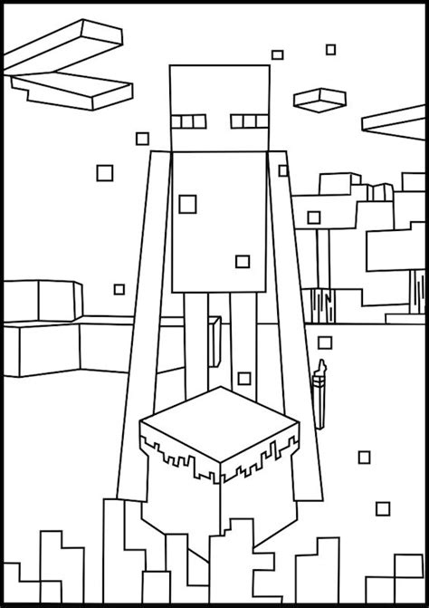 a free printable minecraft enderman coloring page found