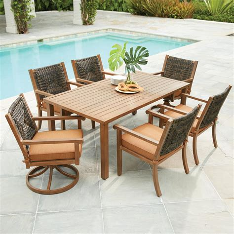 hton bay kapolei 7 wicker outdoor dining set with