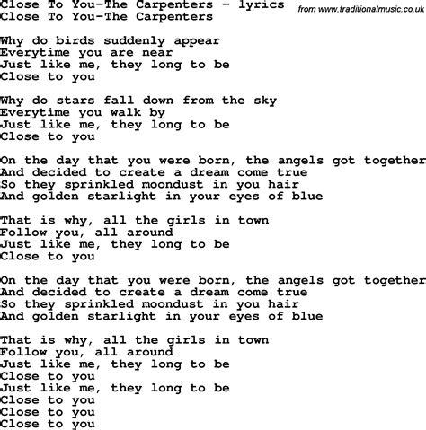 sweet lyrics in hindsight carpenters songs and lyrics zip