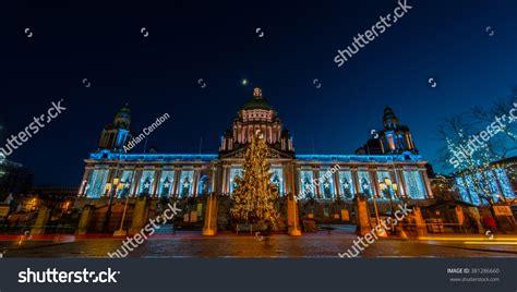 public building belfast christmas lights night stock photo