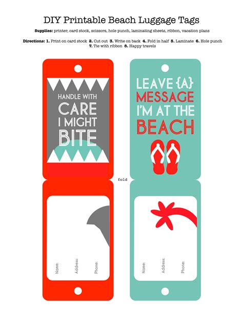 printable luggage tags pdf diy printable beach luggage tags