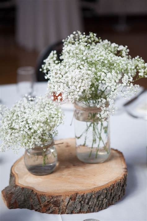 Rustic Mason Jar, Baby?s Breath and Wood Centerpieces