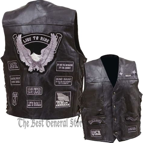 motorcycle waistcoat mens black buffalo leather motorcycle vest waistcoat with