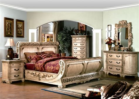 White Bedroom Set by Cannes Ornate Traditional Sleigh Bed Ivory White