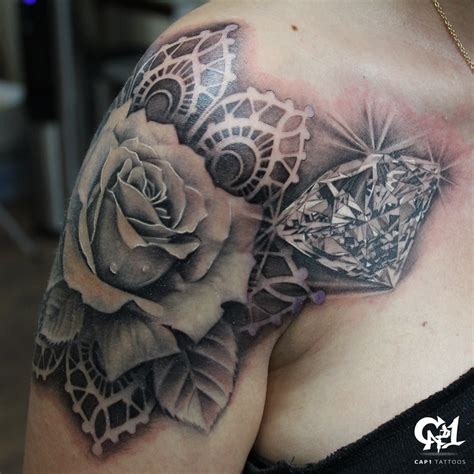 rose with diamond tattoo realistic and by capone tattoonow