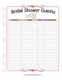 wedding shower gift list template this printable bridal shower guest list provides spaces