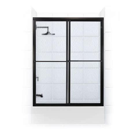 Bronze Sliding Glass Doors Coastal Shower Doors Newport Series 66 In X 58 In Framed Sliding Tub Door With Towel Bar In
