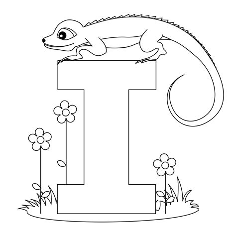 letter i is for iguana coloring page free printable printable alphabet worksheets letter i for iguana for