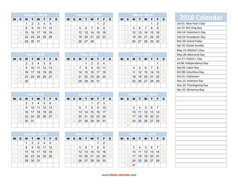 2018 calendar template monthly printable calendar