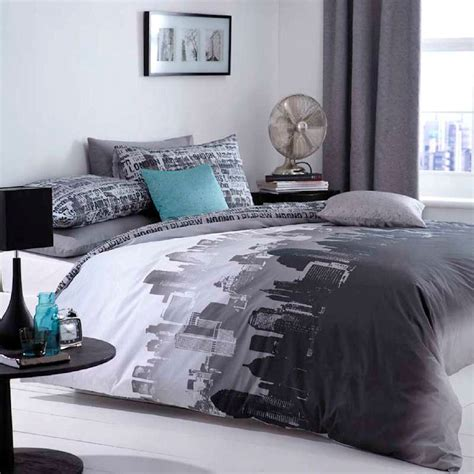 bedroom cover sets catherine lansfield city scape black grey new york duvet