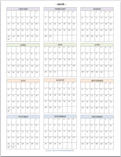 printable calendar year at a glance 2016 free printable quot year at a glance quot calendar for 2016 you