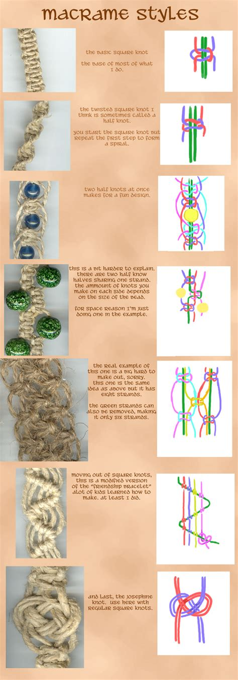 Different Hemp Knots - macrame styles by kaileighblue on deviantart