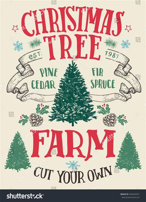 christmas tree farm cut your own stock vector 499459291