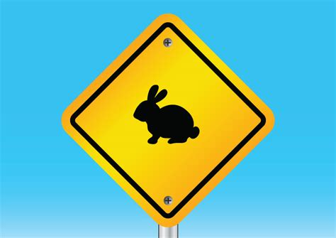 rabbit warning sign free vector download