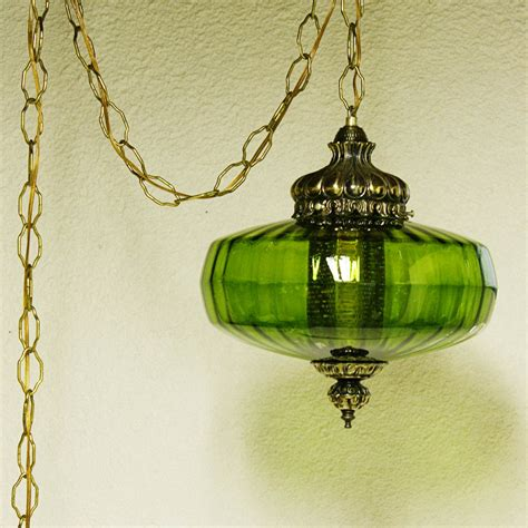vintage hanging light hanging l green globe chain