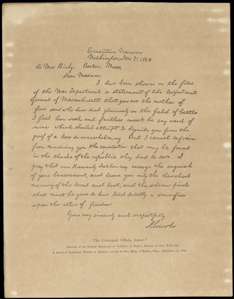 abraham lincoln letter to the world turn d lincoln s bixby letter a study