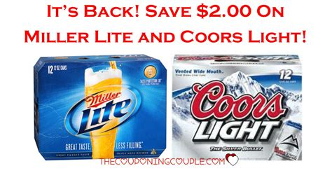 miller lite coors light save 2 00 on miller lite and coors light