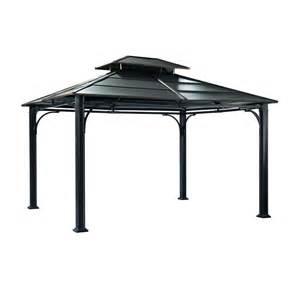 Home Depot Patio Chairs Shop Sunjoy Black Steel Rectangle Permanent Gazebo