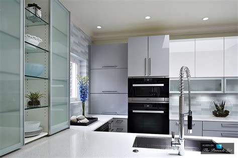 gloss kitchen designs custom glass door cabinetry in modern high gloss kitchen