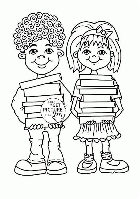 children with school books coloring page for kids back to