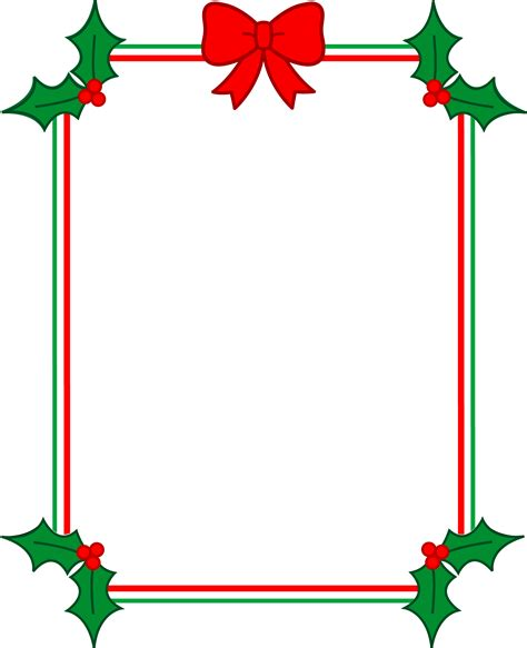 christmas border with holly and ribbon free clip art