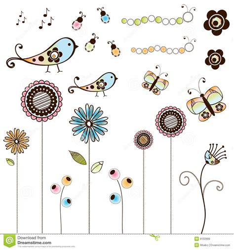 free doodle bug set of doodle bugs and flowers royalty free stock images