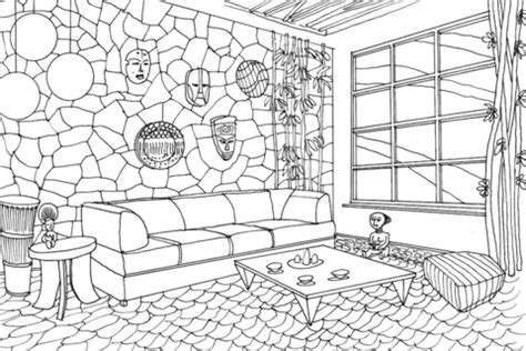 house design coloring pages living room in african style coloring page free