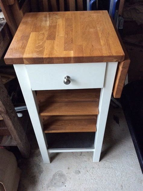 oak top white kitchen butchers block trolley  side table