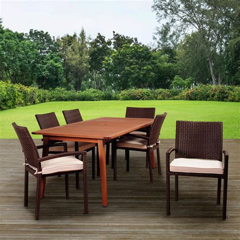 6 person patio table amazonia adelson 6 person resin wicker patio dining set