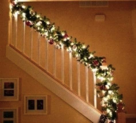 stair garland with lights garlands with lights for stairs happy holidays