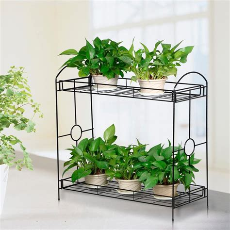 indoor plant displays flower pots garden trends 2 tier metal shelves indoor plant stand display flower