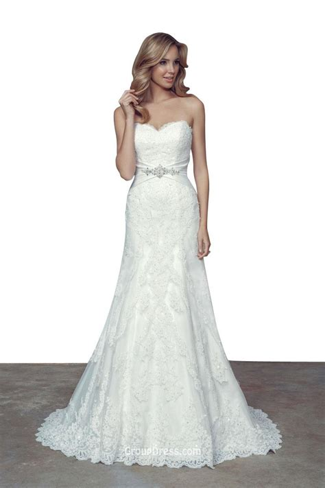 A Line Wedding Dresses by Unique Strapless Sweetheart Backless A Line Lace Wedding