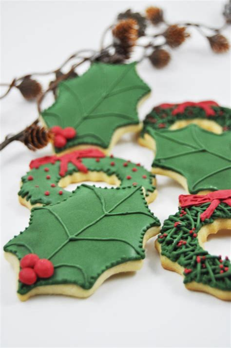 christmas holly leavessugar decorations one dozen iced sugar cookies cookies and sugar cookies