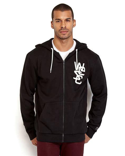 Zipper Sweater Wolverhamton Black Front Logo lyst wesc zip front graphic logo hoodie in black for