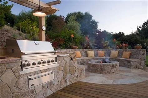 built in firepit outdoor kitchen with built in pit and seating