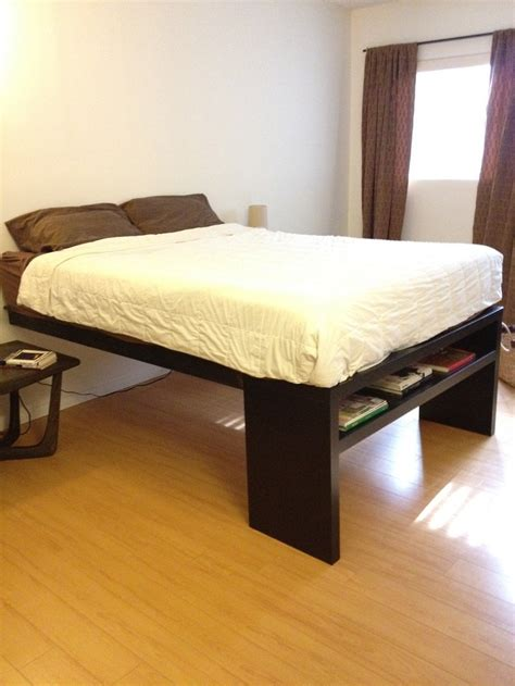 tall platform bed frame diy stained wood raised platform bed frame finished the