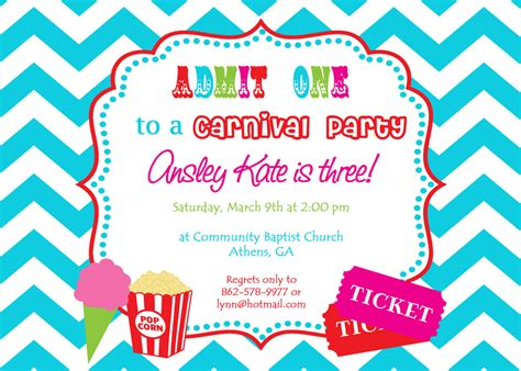 printable birthday invitations carnival theme printable carnival birthday party invitation girly circus