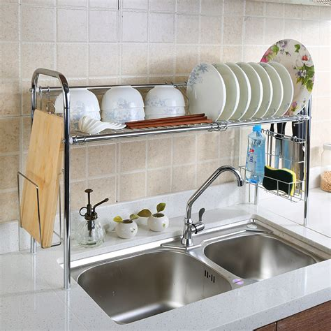 Rak Piring Stainless 2 Layer Dish Rack Stainless 2 Tingkat genius style of the sink dish drying rack trends4us