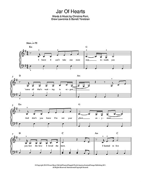 tutorial piano jar of hearts jar of hearts sheet music by christina perri beginner