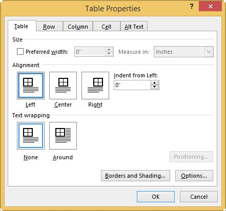 Table Tab Set Or Change Table Properties Office Support