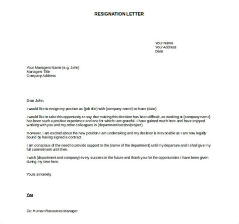Resignation Letter Format In Word Document Resignation Letter Templates 26 Free Word Excel Pdf
